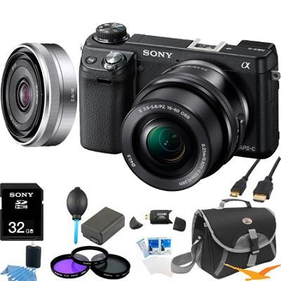 Alpha NEX-6 Digital Camera w/ 16-50mm Lens (Black) +SEL 16mm f 2.8  Bundle