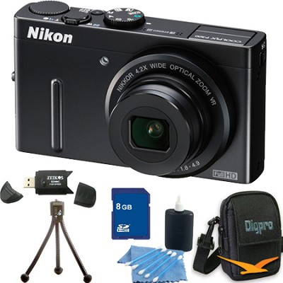 Coolpix P300 12MP F1.8 Black Digital Camera 8GB Bundle