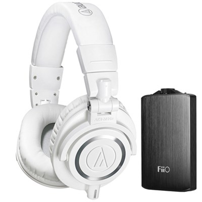 ATH-M50X Professional Studio Headphones & Fiio A3 Amplifier Bundle (White)