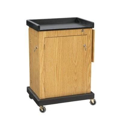 Smart Cart Lectern, 28` Width x 41` Height x 21` Depth, Light Oak