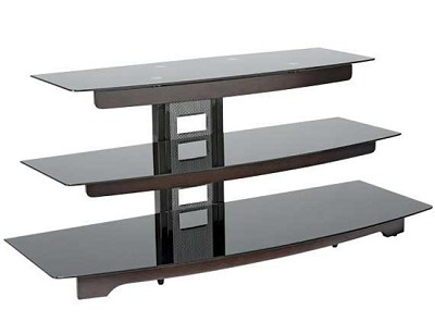 BFAV550 - Waterfall design 3-Shelf A/V Stand for TVs up to 56` (Chocolate)