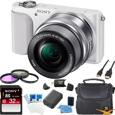 NEX-3NL Digital Camera with 16-50mm Lens (White) Ultimate Bundle