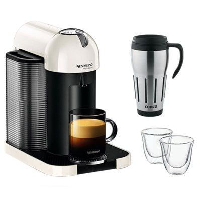 VertuoLine Coffee and Espresso Maker w/ Thermo Glasses & Thermal Travel Mug