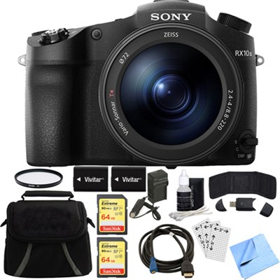 DSC-RX10M III Cyber-shot 4K Video 20.1MP Digital Camera 128GB Memory Card Bundle