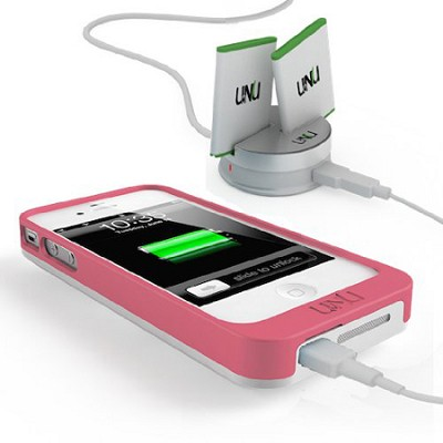 uNu EXERA POWER SYSTEM Swappable Battery Case and Dock for iPhone White/Pink