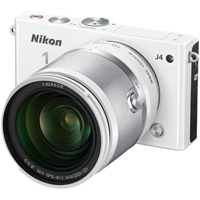 1 J4 Mirrorless 18.4MP Digital Camera with 10-100mm Lens (White) - Refurbished