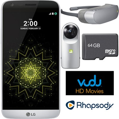 RS988 - G5 32GB Smartphone (Unlocked) Silver w/ 360 CAM + 360 VR Headset Bundle