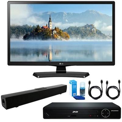 22` Class 21.5` Diag Full HD LED TV w/ HDMI DVD Player & Sound Bar Bundle