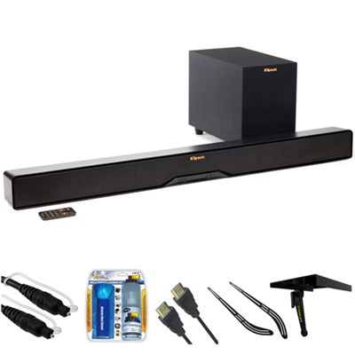 Reference 2-Way Soundbar with Wireless 6.5` Subwoofer R4B w/ Accessories Bundle