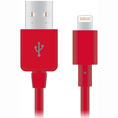 Apple Certified Lightning 8-Pin Charge and Sync Cable (Red) - 12422