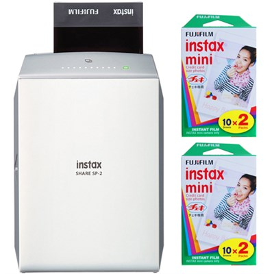 Instax Share Printer SP-2 SI Silver with 2x Instant Film Bundles