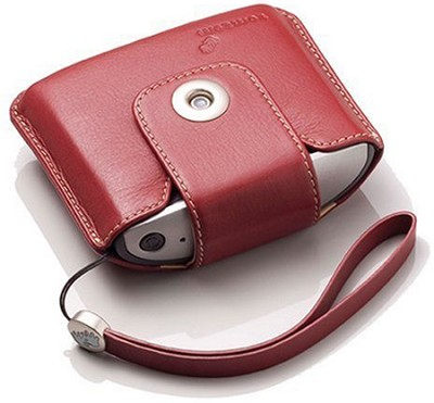 Leather Carrying Case and Strap (Red), Fits TomTom ONE