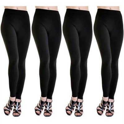 4-Pack Midnight Black Fleece Lined Leggings 1X/2X
