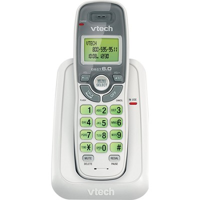 CS6114 DECT 6.0 1 Handset Cordless Phone w/ Caller ID/Call Waiting - White/Grey