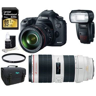 EOS 5D Mark III 22.3 MP Full Frame CMOS with 24-105 &70-200 2.8 II Pro Sport Pak