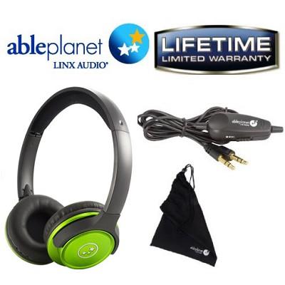 SH190 Travelers Choice Stereo Headphones w/ LINX AUDIO & Inline Volume - Green