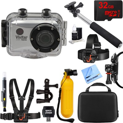 HD Action Waterproof Camera / Camcorder Siler 32GB Outdoor Mount Kit