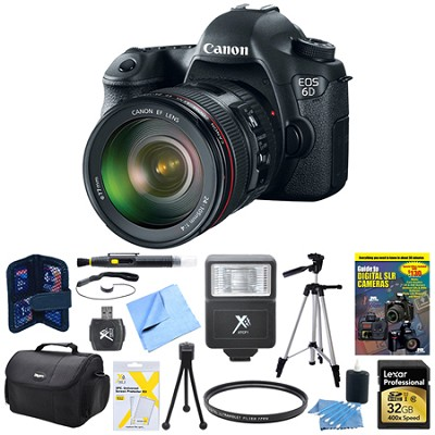 EOS 6D Full Frame 20.2 MP DSLR w 24-105mm USM f/4.0L IS AF Lens Deluxe Bundle