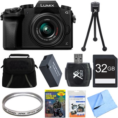 LUMIX G7 Interchangeable Lens 4K UHD DSLM Camera with 14-42mm Lens 32GB Bundle