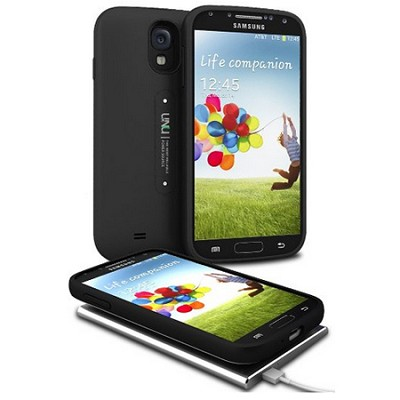 Aero Battery Case Cover with Wireless Charging Mat for Galaxy S4 - Black/Black