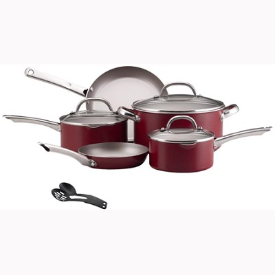Premium Nonstick 10-Piece Cookware Set, Red (21090)