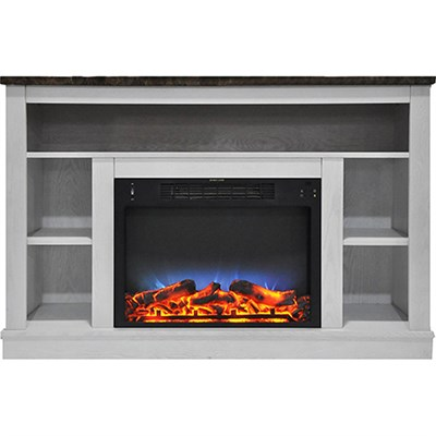 47.2 x15.7 x32.5  Seville Fireplace Mantel with LED Insert White