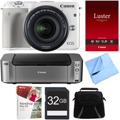 EOS M3 24.2MP White Mirrorless Camera w/ EF-M 18-55mm Lens PIXMA Printer Bundle