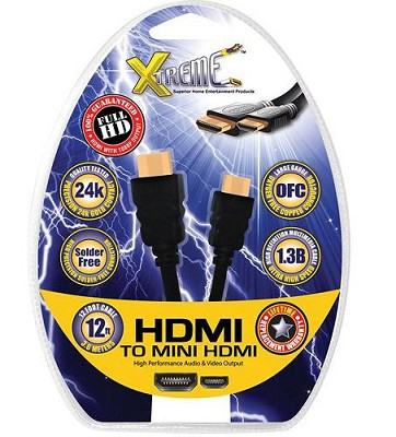 mini-HDMI to HDMI Audio/Video Cable (12 Feet) - View Images & Video on your TV