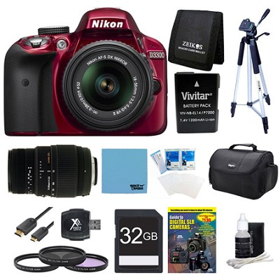 D3300 DSLR HD Red Camera, 18-55mm Lens, 70-300mm Lens and 32GB Card Bundle