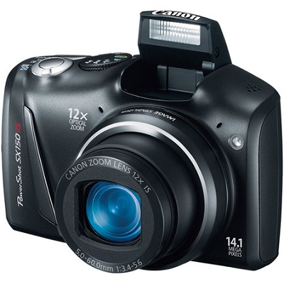 Powershot SX150 IS 14MP 12x Zoom Black Digital Camera w/ 720p HD Video