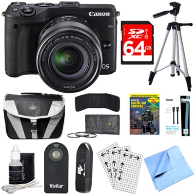 EOS M3 Wi-Fi Digital ILC Black Camera EF-M 18-55mm IS STM Lens 64GB Bundle