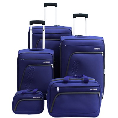 Glider 5Pc Spinner Luggage Set 28`, 24`, 20`, Boarding & Toiletry Bag - Blue