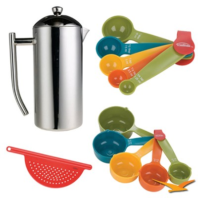 Polished Stainless French Press  36oz Bundle
