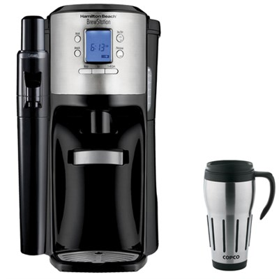 BrewStation with Flavor Dispenser Coffee Maker Black + Copco Travel Mug