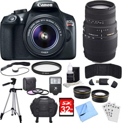 EOS Rebel T6 Digital SLR Camera w/ EF-S 18-55mm + 70-300mm Telephoto Lens Bundle