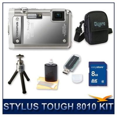 Stylus Tough 8010 Waterproof Shockproof Digital Camera (Silver) w/ 8 GB Memory