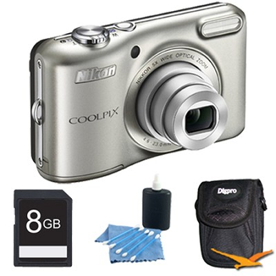 COOLPIX L28 20.1 MP 5x Zoom Digital Camera - Silver Plus 8GB Memory Kit