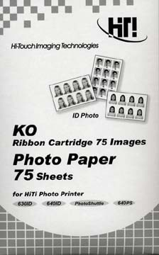 4` X 6` Black and White Photo Paper - 75 Sheets and Ribbon Cartridge for 640PS