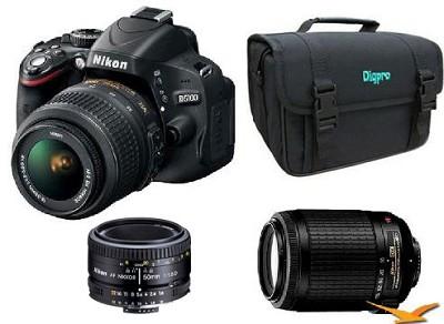 D5100 DX-format Digital SLR Body w/ 18-55mm VR, 55-200mm VR  and 5018 Lens