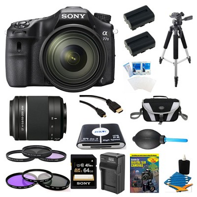 a77II HD DSLR Camera with 16-50mm Lens, 64GB Card, and 55-200mm Lens Bundle