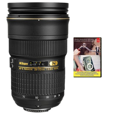 AF-S NIKKOR 24-70mm f/2.8G ED Lens W/Nikon 5-Year USA Warranty W/Elements Bundle