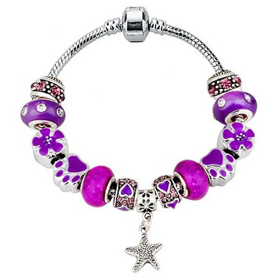 Crystal and Alloy Purple Beaded Charm Bracelet