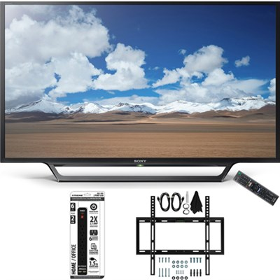 KDL-32W600D 32-Inch Class HD TV with Built-in Wi-Fi Slim Flat Wall Mount Bundle