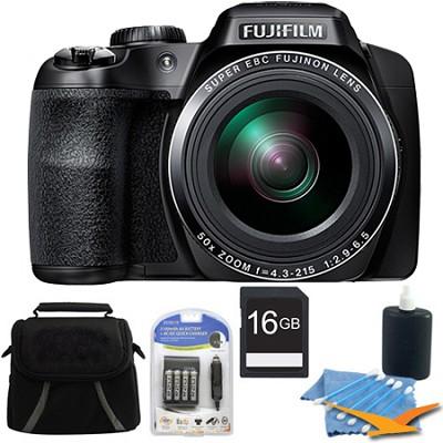 FinePix S9400W 16.2 MP HD 1080i Digital Camera Black 16GB Kit