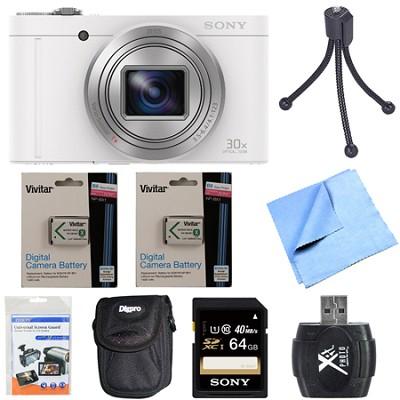 Cyber-Shot DSC-WX500 Digital Camera 3-Inch LCD Screen White 64GB Deluxe Bundle