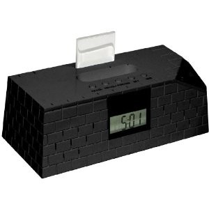 IP-BRICK-BK Brick Digital Alarm Clock with FM Radio and Connections for iPhone,