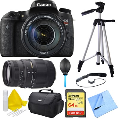EOS Rebel T6s DSLR Camera Body w/ 18-135mm + 70-300mm Telephoto Lens 16GB Bundle