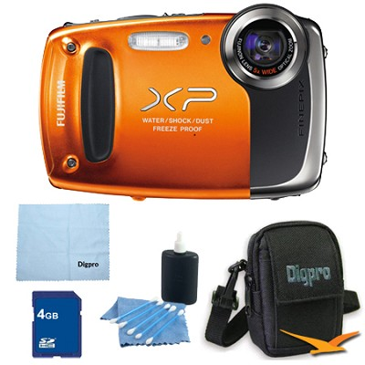 Finepix XP50 14MP CMOS Digital Camera 4 GB Bundle (Orange)