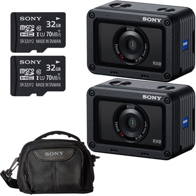 2 PACK RX0 Waterproof Wi-Fi 1.0-type Sensor Ultra-Compact Camera Accessory Kit