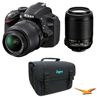 D3200 DX format Digital SLR 24.2 MP 18-55mm & 55-200mm VR II Lens Bag Kit